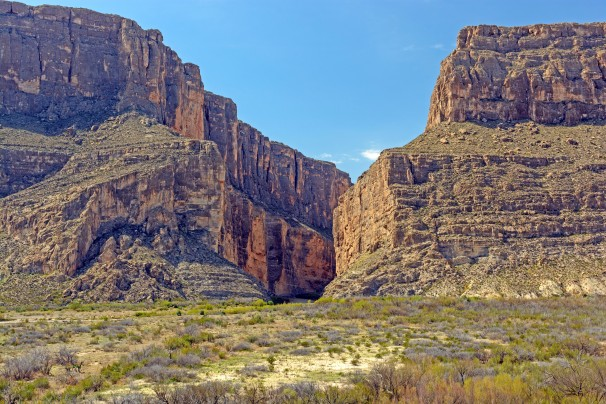 Narrow Canyon in a Desert Escarpment