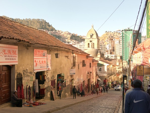 historical streets in the city of La Paz, Bolivia