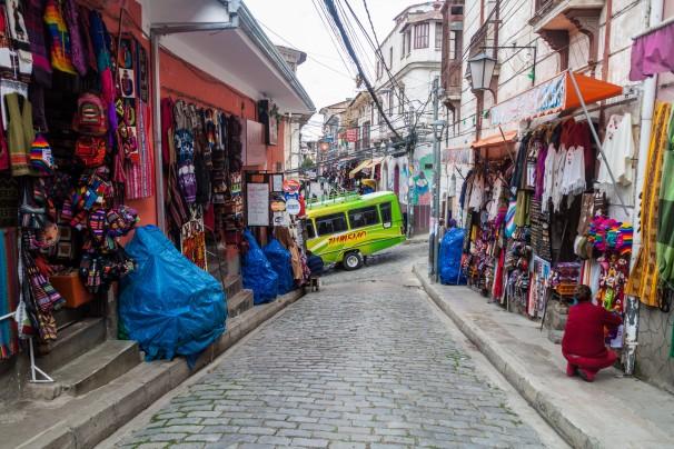 small alley in the center of La Paz