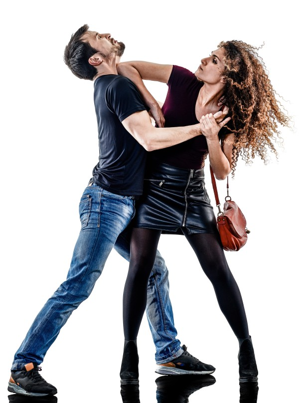 woman thief aggression self defense isolated