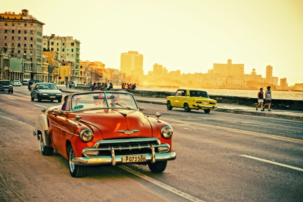 view of a old classic car in the malecon of havana